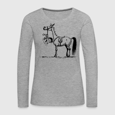 Stubborn Pony Thelwell Cartoon - Women's Premium Longsleeve Shirt