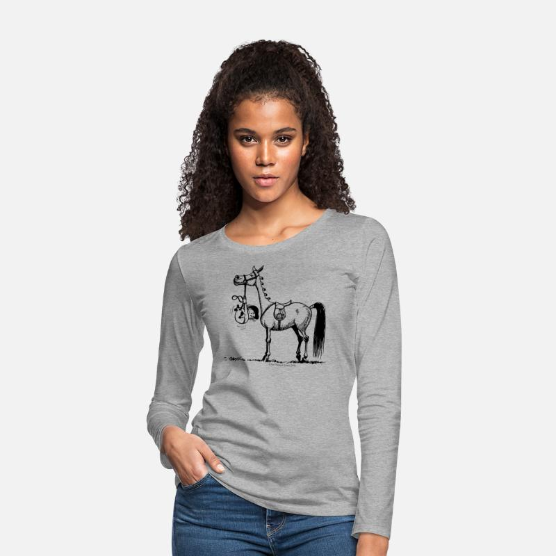Funny Long sleeve shirts - Stubborn Pony Thelwell Cartoon - Women's Premium Longsleeve Shirt heather grey
