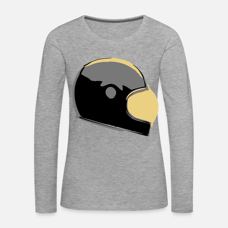 Biker Long Sleeve Shirts - Retro Cafe Racer Helmet - Women's Premium Longsleeve Shirt heather grey