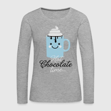 Funny cute mug with i love hot chocolate with sweet cream time slogan in cold snow freezing fall winter t-shirts for geek chic, trendy girls, gift friend christmas mothersday valentine's day - Women's Premium Longsleeve Shirt