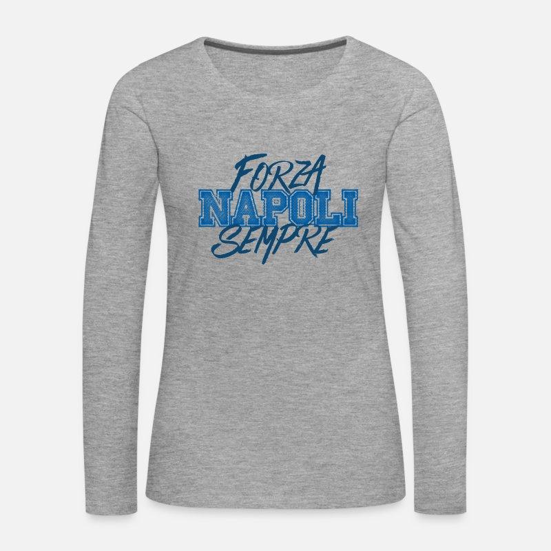 Fútbol Manga larga - Napoli forza siempre - Camiseta de manga larga premium  mujer gris jaspeado 1d19bc1e30796