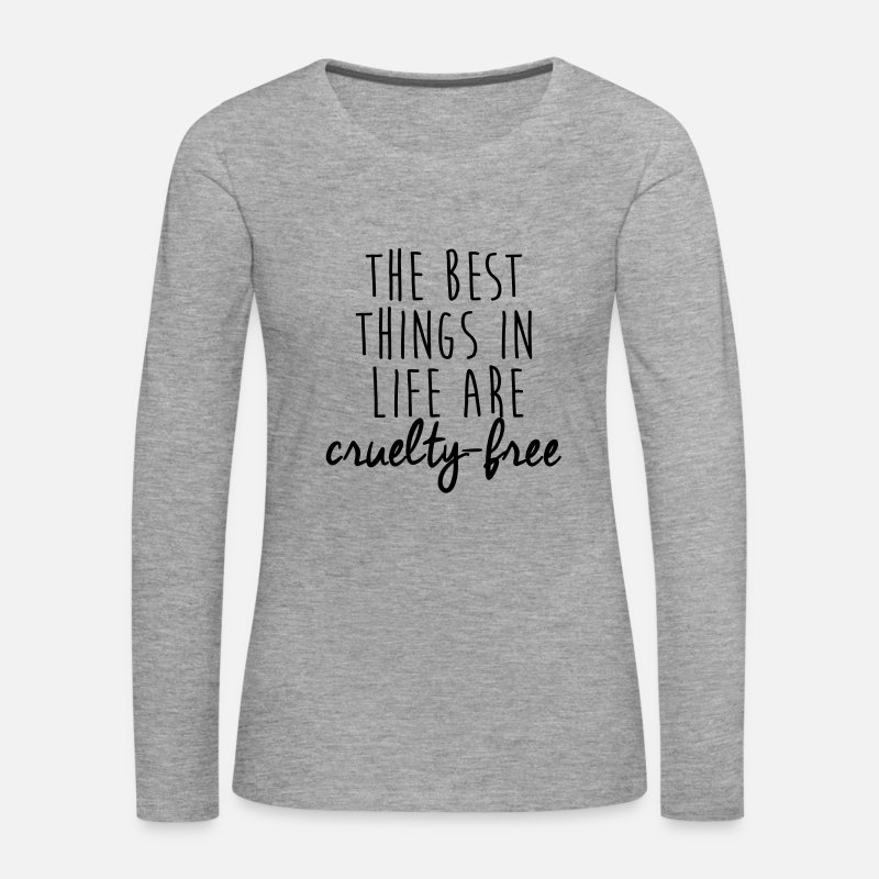 Animal Long Sleeve Shirts - The best things in life are cruelty-free - Women's Premium Longsleeve Shirt heather grey