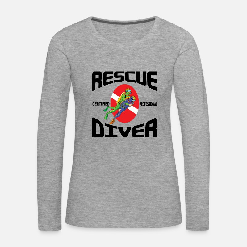 Scuba Diving Long Sleeve Shirts - SCUBA Rescue Diver - Women's Premium Longsleeve Shirt heather grey