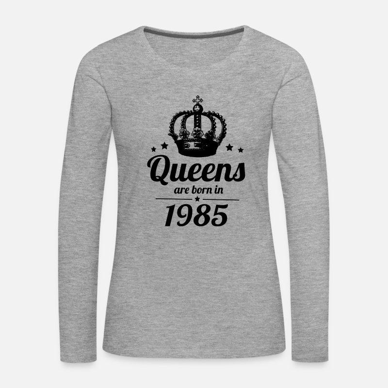 Naissance Manches longues - Reine 1985 - T-shirt manches longues premium Femme  gris chiné 0beedd5b730a