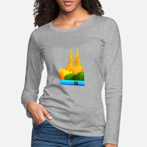 Köln Souvenir Motiv Für Helle Stoffe Frauen Premium Langarmshirt