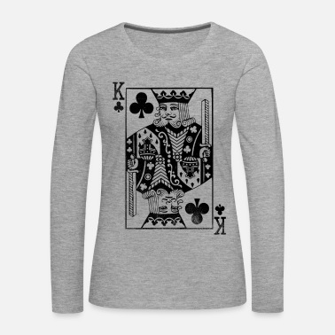Cardio Vintage King Card - Cross King Retro Poker Card - Maglietta Premium a manica lunga da donna