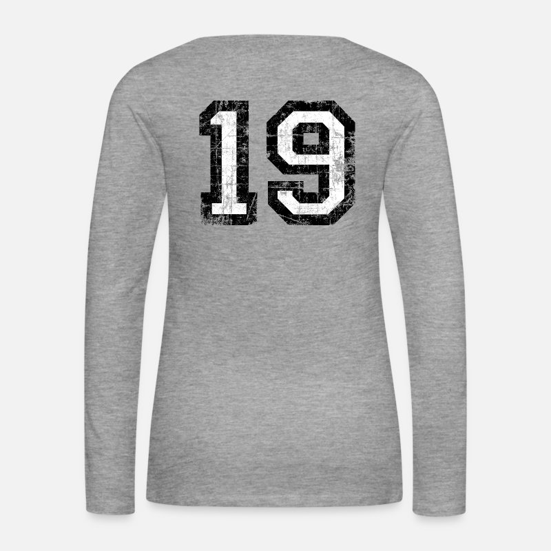 Numbers Long Sleeve Shirts - Number 19 number nineteen 19th birthday nineteenth - Women's Premium Longsleeve Shirt heather grey