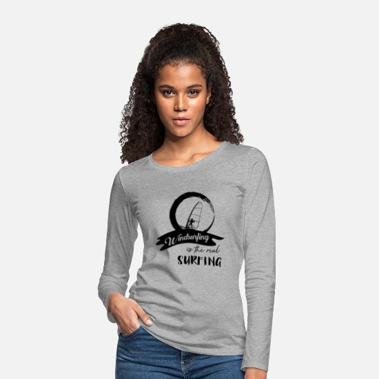 Windsurfing Long Sleeve Shirts - Windsurfers windsurf windsurfing windsurfing surfing - Women's Premium Longsleeve Shirt heather grey
