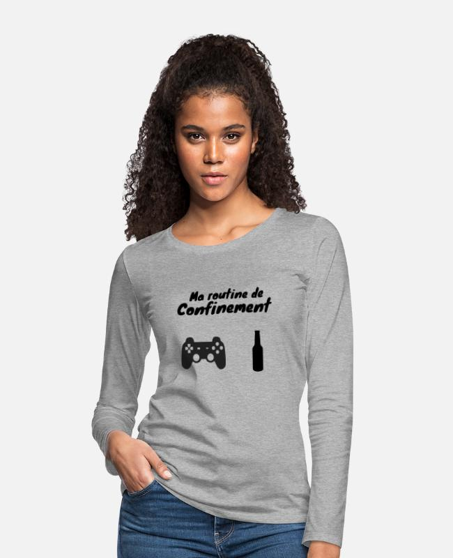 Video Game Long-Sleeved Shirts - Coronavirus Containment de-containment humor - Women's Premium Longsleeve Shirt heather grey