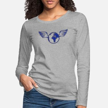 Global earth with wings - T-shirt manches longues premium Femme