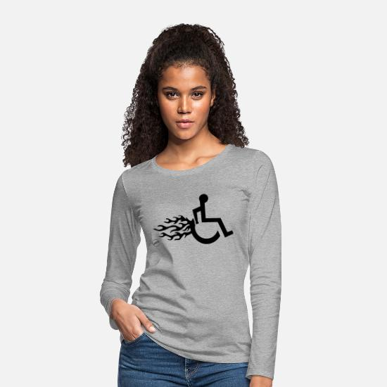Wheelchair Long sleeve shirts - Roller with flames 011 - Women's Premium Longsleeve Shirt heather grey