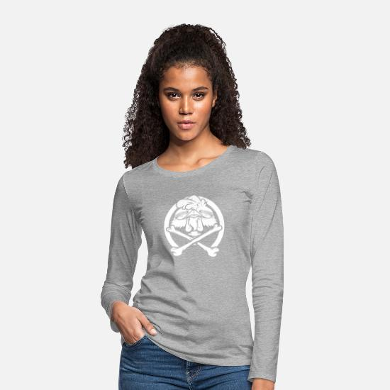 Gift Idea Long Sleeve Shirts - Chicken bone crest pirate - Women's Premium Longsleeve Shirt heather grey
