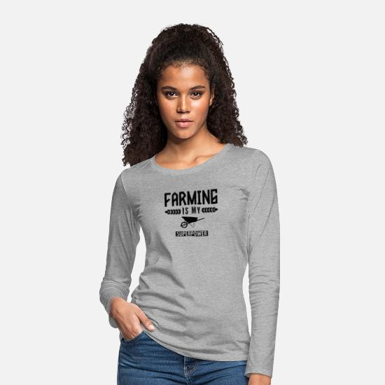 Gift Idea Long sleeve shirts - Farmer farm farmer farmer farmer's wife - Women's Premium Longsleeve Shirt heather grey
