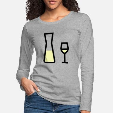 White Wine White wine glass and white wine carafe - Women's Premium Longsleeve Shirt
