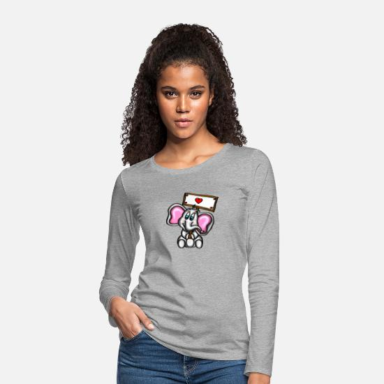 Love Long sleeve shirts - Sweet baby elephant with sign - red heart - Women's Premium Longsleeve Shirt heather grey