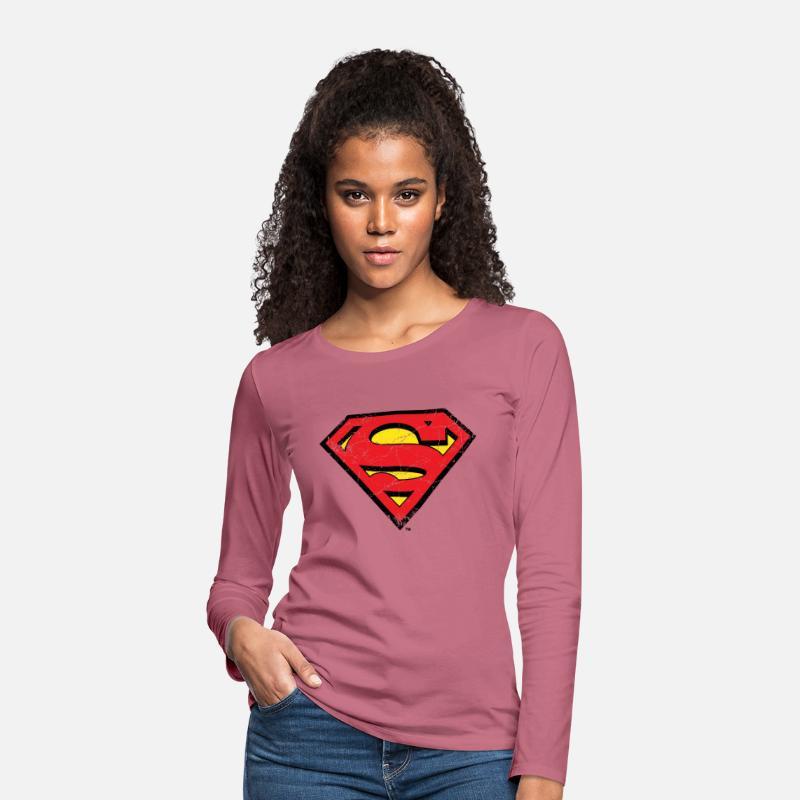 Superman S Shield Logo vintage Dame premium T shirt med lange ærmer rødviolet