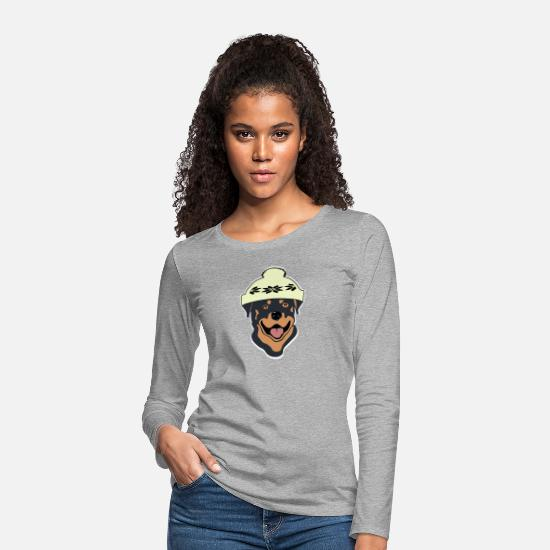 Gift Idea Long sleeve shirts - Rottweiler with bobble hat - Women's Premium Longsleeve Shirt heather grey