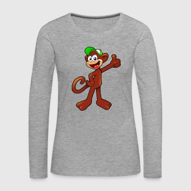 Cartoon monkey colorful thumbs up laughing - Women's Premium Longsleeve Shirt