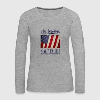 New York City · Brooklyn - T-shirt manches longues Premium Femme