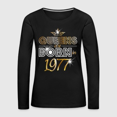 1977 - Birthday - Queen - Gold - EN - T-shirt manches longues Premium Femme