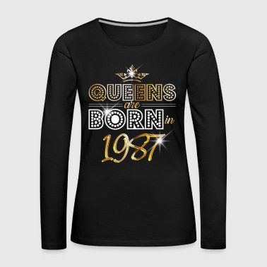 1987 - Birthday - Queen - Gold - EN - Camiseta de manga larga premium mujer