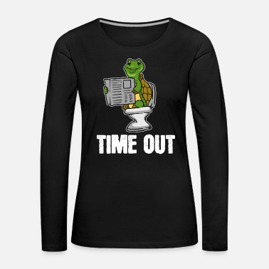 Restroom Turtle, animal, time out, newspaper, toilet, gift, loo - Women's Premium Longsleeve Shirt