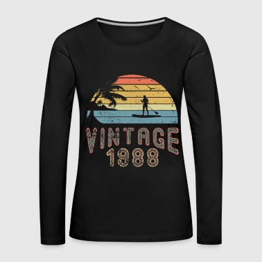 Vintage 1988 Stand Up Paddling SUP Surfboard - T-shirt manches longues Premium Femme