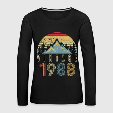 1988 Vintage Mountains Outdoor Glacier Camping - Premium langermet T-skjorte for kvinner