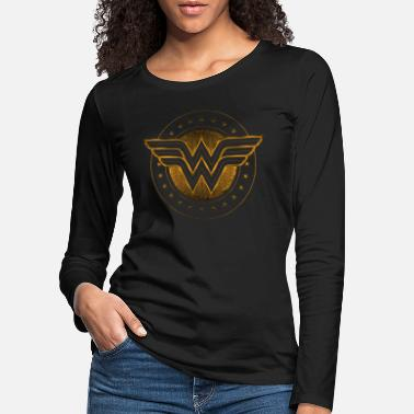 Wonder Woman Comic Logo gold - Frauen Premium Langarmshirt