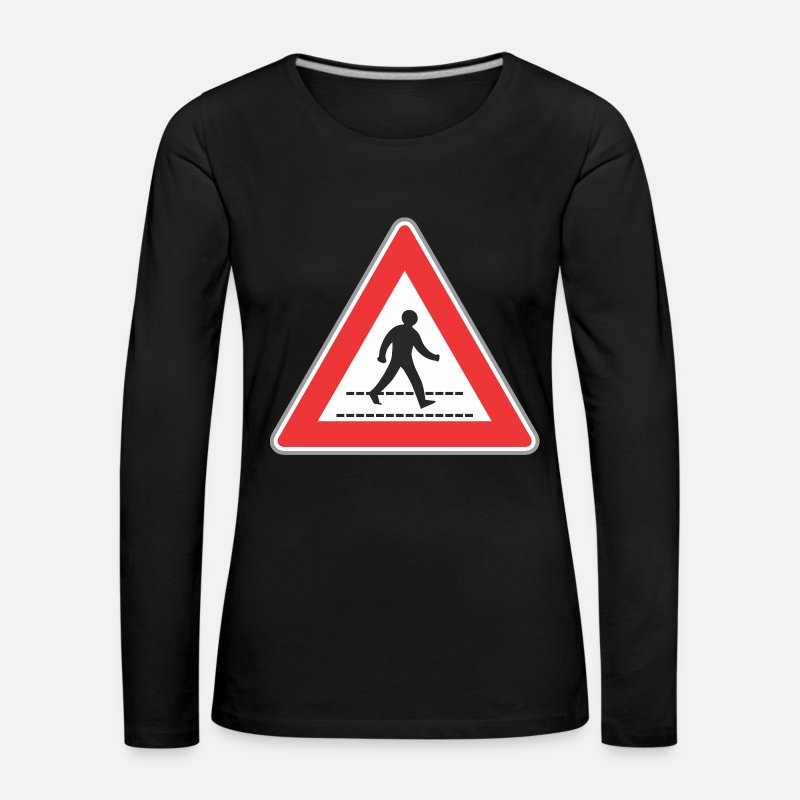 Road Construction Long Sleeve Shirts - Road sign walking man sign - Women's Premium Longsleeve Shirt black