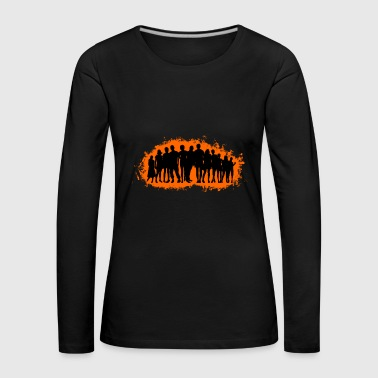 Boy child orange and black outline - Women's Premium Longsleeve Shirt