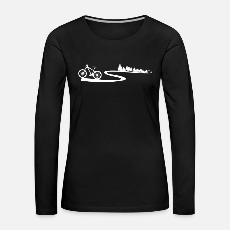 Mountain Long Sleeve Shirts - mountain Bike Trail - Women's Premium Longsleeve Shirt black