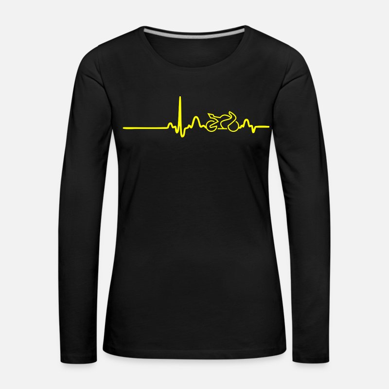 Alcohol Long Sleeve Shirts - ECG HEART LINE BIKE yellow - Women's Premium Longsleeve Shirt black