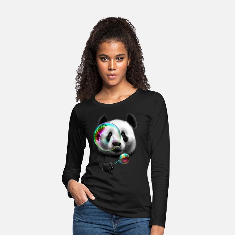 Panda Long sleeve shirts - PANDA BUBBLEMAKER - Women's Premium Longsleeve Shirt black