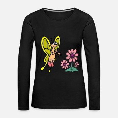Stand Butterfly, flower, insect, forest, meadow, Cool - Women's Premium Longsleeve Shirt