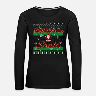 Ugly Christmas Sweater (Santa) - T-shirt manches longues Premium Femme