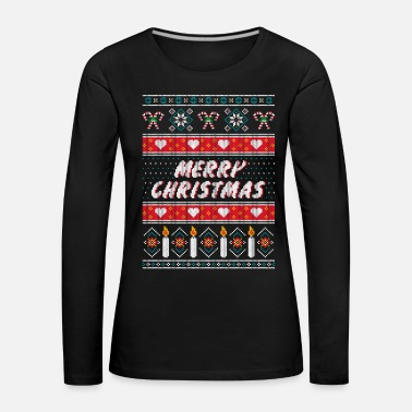 Ugly Christmas Sweater (Merry Christmas) - T-shirt manches longues Premium Femme