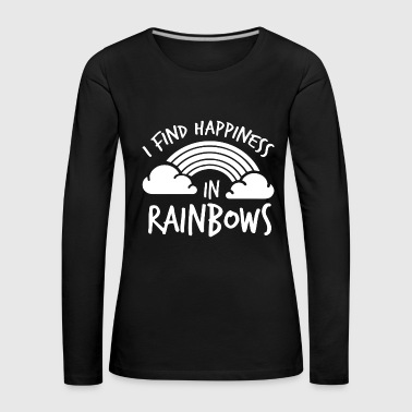 LGBT Gay Pride Lesbian I find Happines in Rainbows white - Women's Premium Longsleeve Shirt