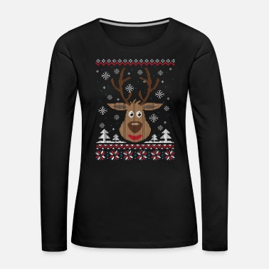 Ugly Christmas Sweater (Renne) - T-shirt manches longues Premium Femme