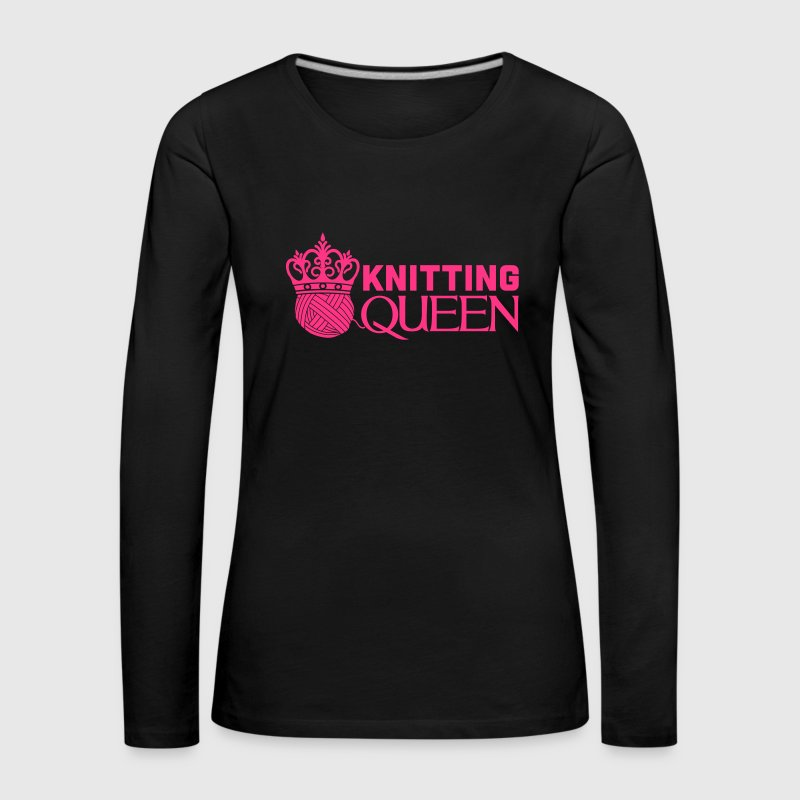 Knitting queen - Premium langermet T-skjorte for kvinner