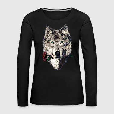 Wolf, wolves, animal, wild, blue eyes, rose - Women's Premium Longsleeve Shirt