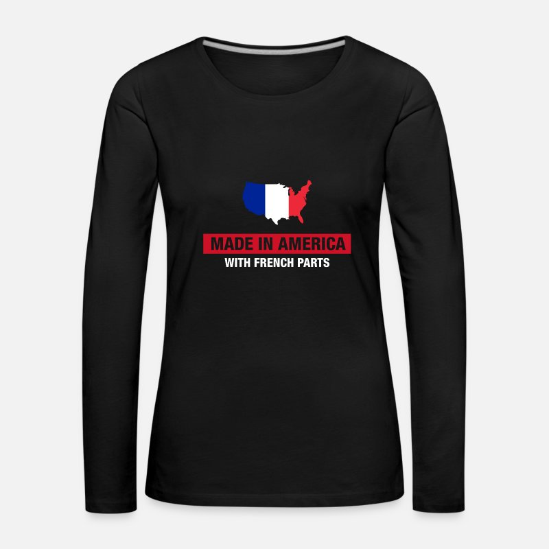 Half American Half French Flag Long Sleeve Shirts - Made In America With French Parts France Flag - Women's Premium Longsleeve Shirt black