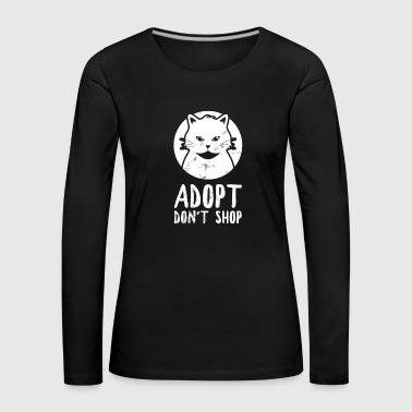 Animal Rescue Adopt Ne pas magasiner Cat Kitten Vintage - T-shirt manches longues Premium Femme