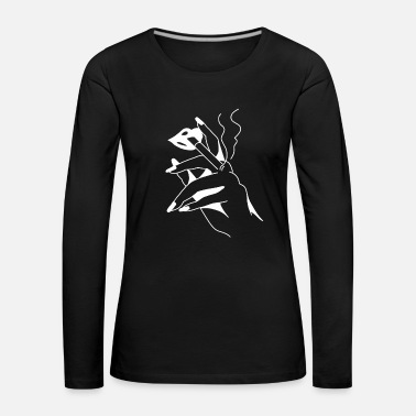 Lips smoking woman with cigarette in hands - Women's Premium Longsleeve Shirt