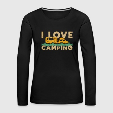I Love camping saying gift tents fire - Women's Premium Longsleeve Shirt