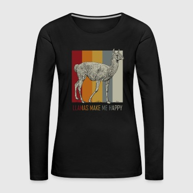 Llamas Make Me Happy - Gift Idea - Women's Premium Longsleeve Shirt