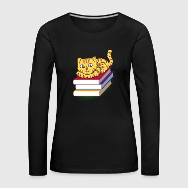 Cat kitten reading book bookworm bookworm - Women's Premium Longsleeve Shirt