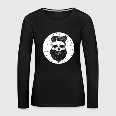 Hipster Hipster skull with hipster hair and mustache - Women's Premium Longsleeve Shirt