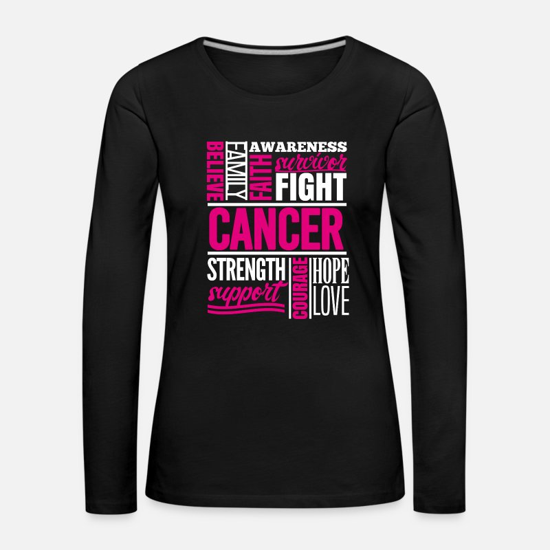 Cancer Long Sleeve Shirts - Breast cancer Cancer collage faith defeated strength - Women's Premium Longsleeve Shirt black