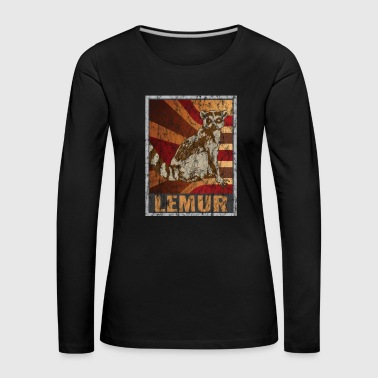 Tv Retro Lemuren Poster Distressed Look - Vrouwen Premium shirt met lange mouwen